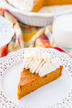 This Impossible Pumpkin Pie is actually the easiest pumpkin pie you'll ever make! As it bakes, it forms a light crust on its own and leaves behind a dense, but creamy pumpkin filling. Top it with whipped cream and it's the perfect fall dessert!