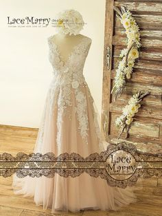 Boho Blush Wedding Dress with Ivory Lace 3D Flower Appliqués, V-Cut Illusion Neckline and Back with Buttons and Airy Tulle Skirt with Train (WD 131) ITEM INFORMATION °º©©º°¨¨¨¨¨¨°º©©º° ❤ OVERLAY COLOR: IVORY (color as in picture). ❤ UNDERLAY COLOR: BLUSH PALE (SILK SATIN #52). Here is