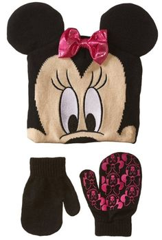 d4af4660641 Disney Little Girls  Minnie Mouse Hat and Glove Set