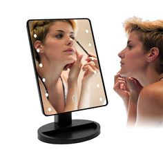 TFCFL Touch Screen 16 LED Lighted Makeup Mirror with Removable 10x Magnifying Mirrors 180 Free Rotation Movable Perfect for Makeup, Exfoliating, Bathroom, Dressing Room, Face Washing, Tweezing: Amazon.co.uk: Kitchen & Home