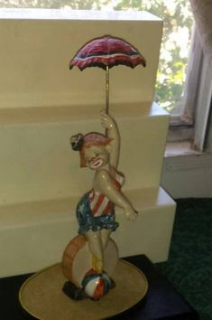 "Vintage CLOWN LADY DISPOSE Italy Has 947 & a Star, Vintage Clown Ballerina On Ball, Unique Clown With Umbrella 10-1/2""Tall"