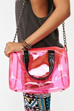 fashion, accessories, bags, purses, pink, clear, Nasty Gal