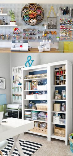 Best craft room storage and organization furniture ideas 00004 Craft Room Storage, Sewing Room Organization, Storage Ideas, Creative Storage, Craft Room Shelves, Pegboard Craft Room, Ikea Pegboard, Painted Pegboard, Ikea Craft Room