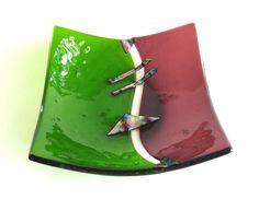 Purple Green Glass Bowl Fused Yin Yang by DawnofCreationGlass
