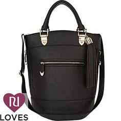 black tassel bucket bag - shoulder bags - bags / purses - women - River Island    A very smart bag I would like to bring to work.
