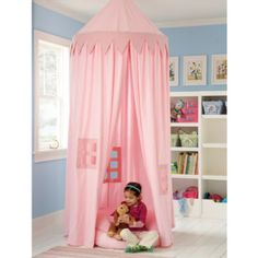 Could diy with some sheer curtains and a hula hoop. It would make an awesome little reading nook.