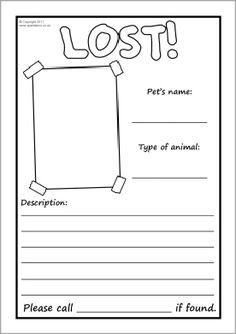 Lost pet poster writing frames - blank (SB4250) - SparkleBox
