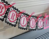 "Hot Pink Zebra Print Bridal Shower Bachelorette Party ""Bride to Be"" Banner - Ask about our Party Pack Special"