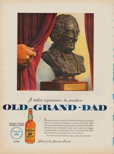 "Description: 1950 OLD GRAND-DAD vintage print advertisement ""It takes experience to produce Old Grand-Dad""""Kentucky Straight Bourbon Whiskey. The mellow, heart-warming flavor of Old Grand-Dad proves again that there is no substitute for experience in artistic achievement. The Old Grand-Dad Distillery Company, Frankfort, Kentucky"" Size: The dimensions of the full-page advertisement are approximately 11 inches x 14 inches (28cm x 36cm). Condition: This original vintage advertisement is in Very…"