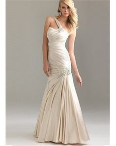 One Shoulder Floor-length White Tone Formal/Evening