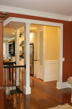 Open entry to basement from upstairs...looks better than just a door!