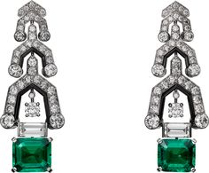 CARTIER. Earrings - platinum, 2 modified octagonal step-cut emeralds from…