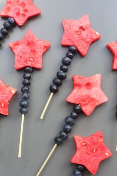 "Fruit Sparklers made with watermelon stars and blueberries | Tastes Better From Scratch When it comes to Fourth of July Parties I've come to learn that people like SIMPLE. I can't tell you how many times I've seen super intense ""patriotic"" desserts brought to a Fourth of July Party (like those jello salads with a …"