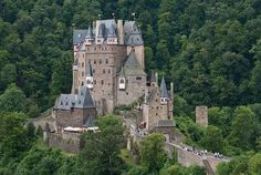 BURG ELTZ Castle near Münstermaifeld, Germany. It is a complex of palaces serving different parts of the original family of the House of Eltz, first mentioned in official records in the year 1157.