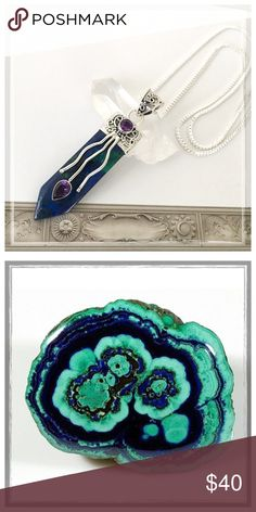 ✨SS Azurite/Malachite & Amethyst Healing Crystal✨ ✨Azurite-Malachite Healing Crystal Neckalce✨Azurite is often found in nature mixed with Malachite, another copper carbonate mineral, this one with a bright green color✨Together, they resemble Mother Earth and carry not only their individual properties, but a powerful blend of healing energies✨Azurite-Malachite's energies is conducive to meditation by allowing one to go deep within the self, without fear, in order to be sustained, absolved…