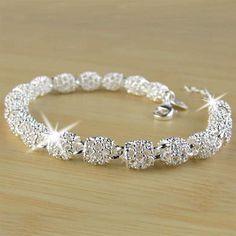 Women's Bracelet Gorgeous Silver Charm Chain Bangle Wedding Jewelry Gifts C Bracelets En Argent Sterling, 925 Silver Bracelet, Crystal Bracelets, Bangle Bracelet, Jewelry Bracelets, Gold Earrings, Silver Charms, Silver Beads, Silver Jewelry