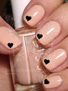 Nail Art Black Mini Hearts Nail Water Decals Transfers Wraps