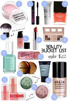 Beauty Bucket List… under $20