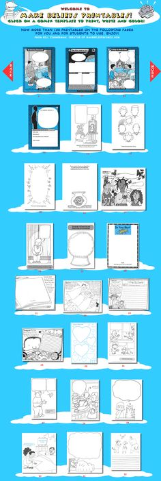 Printable blank comics; great for creative writing, writing prompts, or graphic organizers