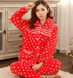Red color Winter home pajamas only for single women 07