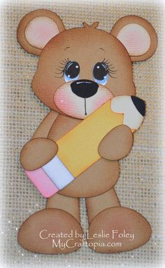 Items similar to Bear with a pencil Premade Scrapbooking Embellishment Paper Piecing on Etsy Foam Crafts, Diy Arts And Crafts, Crafts For Kids, Diy Paper, Paper Art, Paper Crafts, School Scrapbook, Scrapbook Paper, Happy Children's Day