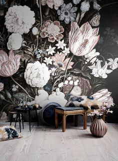 Vintage Floral Art Removable Wallpaper Wall mural by loveCOLORAY