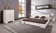 Łóżko bukowe SETI BIAŁE niskie w wybarwieniu białym