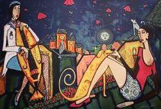 Angelica Wiik - Under takåsarna. En romantiskt skildring i starka färger där en kvinna kurtiserar en väninna. Angelica Wiik blandar fiktion med romantik ofta med inslag från djurriket. En färgsprakande litografi med känsla av romantik och storstadsnatt.Litografi på GalleriStockholm.se #AngelicaWiik #Angelica #Wiik #Litografi #Litografier