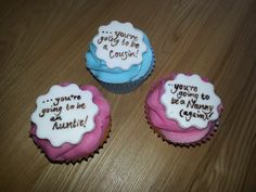 Pregnancy reveal cup cakes.