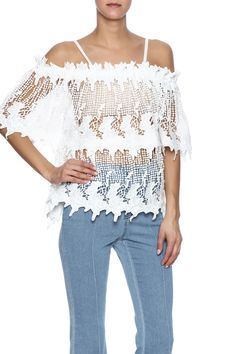 All white lace top with adjustable straps. Can be worn on or off the shoulders as it has a complete elastic neckline.   White Lace Top by Pretty Angel. Clothing - Tops - Short Sleeve Clothing - Tops - Blouses & Shirts Indiana