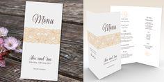 Printable Custom Wedding Menu, Tall And Thin Fold Over Table Menu, Elegant Lace Detail Folding Menu, Wedding Reception Bar & Food Custom Menu