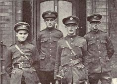 Nephews of Michael Collins in the Irish National Army, 1922. Left to right: Finian O'Driscoll, Fachtna O'Driscoll, Seán Collins Powell, Michael Powell
