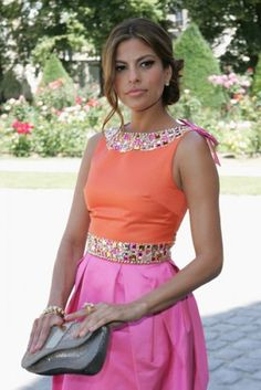 Eva Mendes in a perfect color block dress
