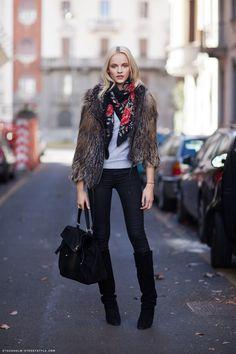 Ginta Lapina - fur jacket & flowers