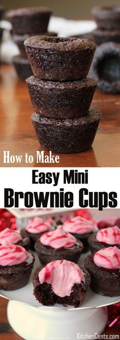 How to make Mini Brownie Cups that will hold up to any filling | Chewy chocolate brownie cups are a favorite recipe in our house | Easy brownie recipe | These brownie cups are quick to make and easy brownie recipe from scratch | These would be great for an Easter brunch dessert | Fill it with your favorite filling, 3-Ingredient Chocolate Mousse, homemade raspberry mousse, caramel sauce, ice cream | Loss the cup and you have a delicious chocolate brownie bite recipe from scratch.