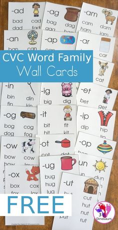 FREE CVC Word Family Wall Cards - with 22 word families for kids to learn with. 2 cards per page and up to 10 words per card - 3Dinosaurs.com #learningtoread #wallcards #cvc #cvcwordfamily #3dinosaurs #freeprintable #kindergarten #firstgrade