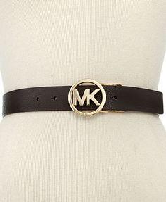 Michael Kors Belt, Reversible Leather Belt with Logo Buckle