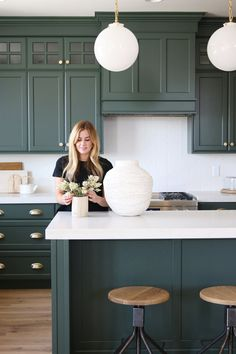 Great Home Decor Trends 2019 White Kitchen Design Plan With An Earthy Coastal Vibe-Studio McGee … Green Kitchen Cabinets, Farmhouse Kitchen Cabinets, Kitchen Cabinet Design, Interior Design Kitchen, Kitchen Decor, White Cabinets, Kitchen White, Earthy Kitchen, Green Kitchen Island