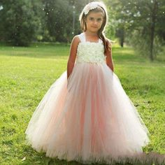 Wedding Party Formal Flower Girl Dresses Tulle Pearls Pageant Gown #Dress