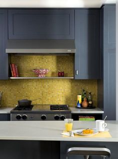 Yellow Kitchen Cabinet with Grey Wall New Chartreuse Tile Backsplash Rich Grey Cabinets Range Yellow Kitchen Cabinets, Blue Cabinets, Kitchen Backsplash, Kitchen Yellow, Kitchen Grey, Kitchen Vent, Lemon Kitchen, Gold Kitchen, Backsplash Ideas