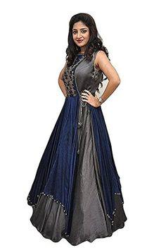 Karm Enterprise Taffeta Silk Gown (Women Gown With Jacket_Grey_Free Size) Anarkali Dress, Lehenga Choli, Anarkali Suits, Dress Neck Designs, Blouse Designs, Designer Gowns, Designer Wear, Gown With Jacket, Western Gown