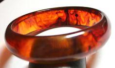 Vintage Bakelite rootbeer swirl bangle bracelet by lbjool on Etsy, $22.00