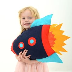 Kids Rocket Pillow Cushion, decorative pillow, boys room decor, girls room…