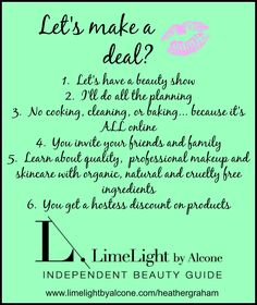 Deal, Beauty Show, No cooking, No Cleaning, No Baking, Facebook event, Hostess Discount, LimeLight by Alcone