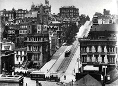 Looking up Nob Hill on Powell Street from Sutter at the bottom in 1895, San Francisco