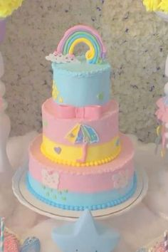 Don't miss this cute and colorful rainbow baby shower! The cake is wonderful! See more party ideas and share yours at CatchMyParty.com Bridal Shower Cakes, Baby Shower Cakes, Shower Party, Baby Shower Parties, Rainbow Parties, Rustic Cake, Holiday Cakes, Gorgeous Cakes, Rainbow Baby