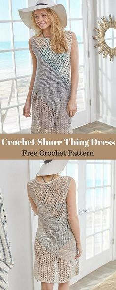 This dress is ready to take you from ship to shore! We love it as a cover-up, but with a slip dress underneath, you could easily wear this out on the town. #freecrochetpattern #freecrochet #crochet3 #easycrochet #patterncrochet #crochettricks #crochetitems #crocheton #thingstocrochet