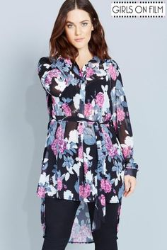 089bca0b3b Girls On Film Curvy Floral Print Shirt Dress With Tie - Girls On Film Curvy  from Little Mistress UK - curvy girls! this floral shirt dress is amazing  and ...