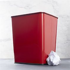 Polder® Trash Can 7-Gallon Red with Bag Band I Crate and Barrel