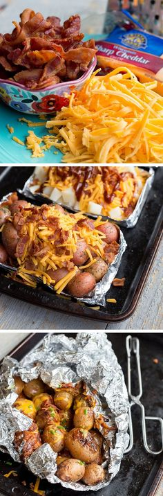 Loaded Potato Foil Packets — New potatoes covered in seasoned salt, melted butter, sharp cheddar cheese, topped with fresh bacon crumbles and served with a side of sour cream. You have to make these crazy-easy grilled potato bundles this summer. These foi Tin Foil Dinners, Foil Pack Meals, Hobo Dinners, Camping Meals, Camping Hacks, Camping Pizza, Grilled Potato Recipes, Grilling Recipes, Cooking Recipes